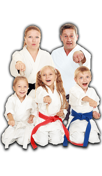 Martial Arts Lessons for Families in Columbia MO - Sitting Group Family Banner