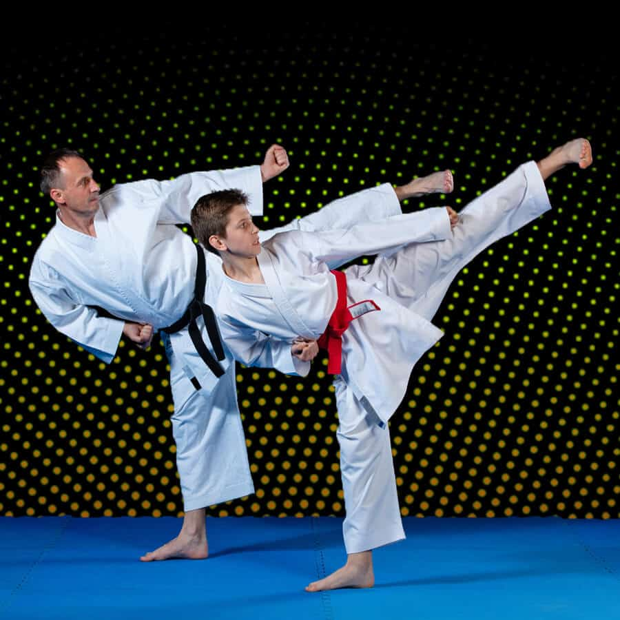 Martial Arts Lessons for Families in Columbia MO - Dad and Son High Kick