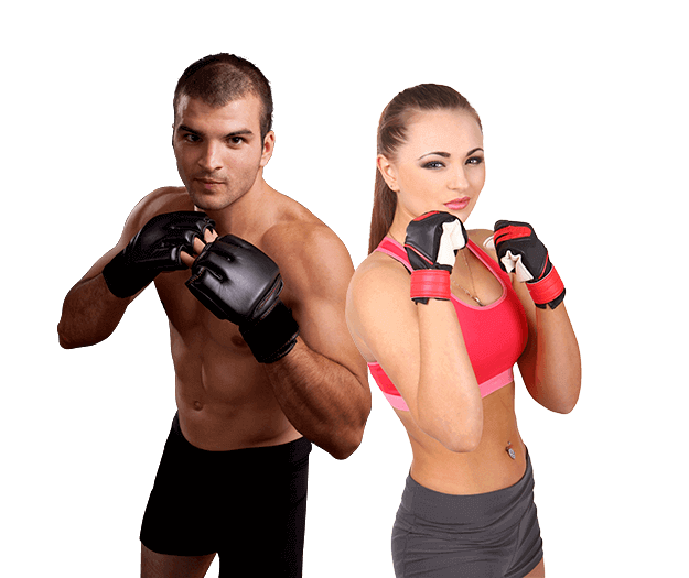 Mixed Martial Arts Lessons for Adults in Columbia MO - Hands up Fitness MMA Man and Woman Footer Banner