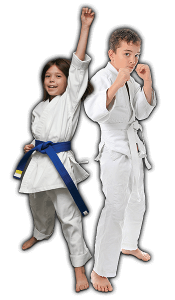 Martial Arts Lessons for Kids in Columbia MO - Happy Blue Belt Girl and Focused Boy Banner